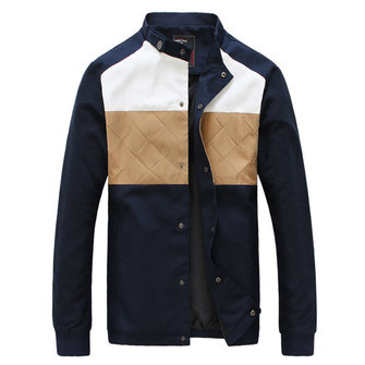 Spring Jacket Mens Stand Collar Contrast Blue Jackets